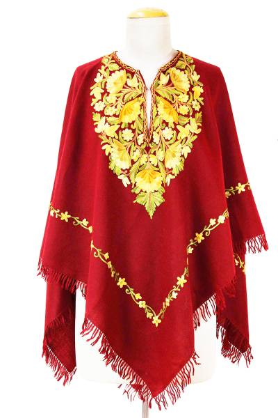 Burgundy Wool Poncho Lavish Chain Stitch Floral Embroidery