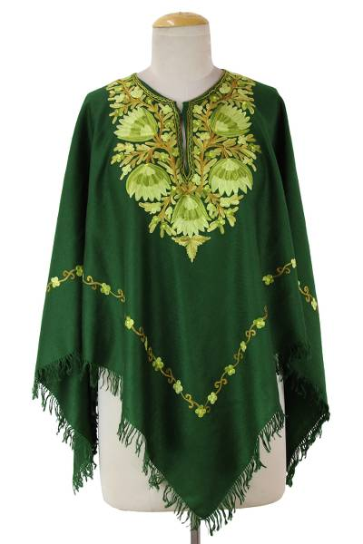 Kashmiri Chain Stitch Floral Embroidery Green Wool Poncho