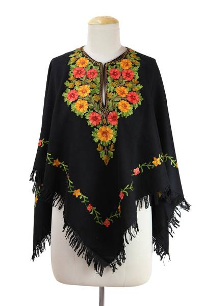 Black Wool Poncho with Lavish Chain Stitch Floral Embroidery