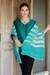 Cashmere shawl, 'Serenity Blue' - Hand Crafted 100% Pashmina Wool Shawl in Turquoise and Ivory thumbail