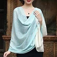 Cashmere shawl, 'Serene Waters' - Turquoise and Ivory 100% Pashmina Wool Handmade Shawl