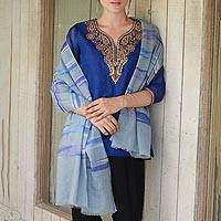 Cashmere shawl, 'Reflection of the Lake' - Hand Woven 100% Cashmere Shawl from India