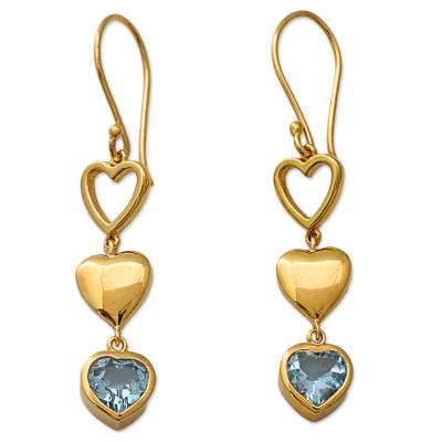 Gold Vermeil Heart Earrings from India with Blue Topaz
