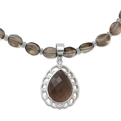 Smoky Quartz Pendant Necklace with Silver and Crystal Quartz