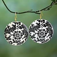 Enameled brass dangle earrings, 'Garden in the Moonlight' - Black and White Floral Enameled Brass Dangle Earrings