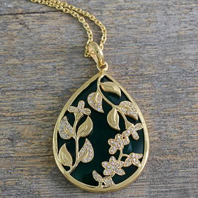 Gold vermeil onyx pendant necklace, 'Green Royal Glamour - Green Onyx 18k Gold Vermeil Cubic Zirconia Necklace