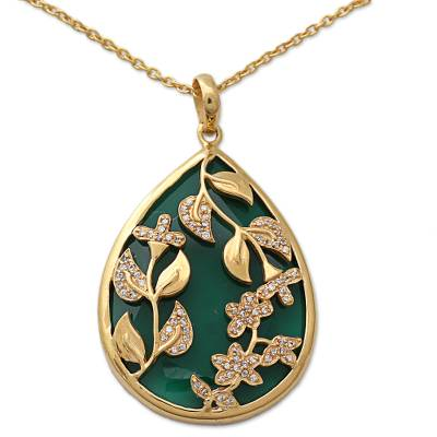 Green Onyx 18k Gold Vermeil Cubic Zirconia Necklace