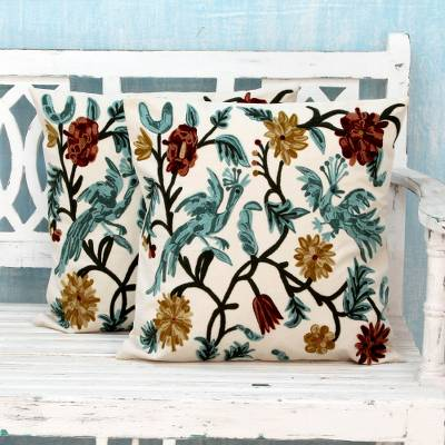 Cotton cushion covers, 'Blue Cockatoo Garden' (pair) - Cotton Chainstitch Embroidery Floral Cushion Covers (Pair)