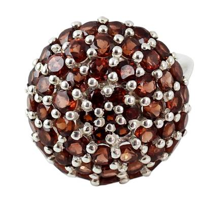 Indian Sterling Silver and Garnet Cluster Ring