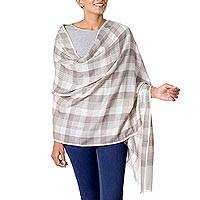 Wool shawl, 'Checkered Grace' - Wool Taupe Checkered Pattern Traditional Shawl from India