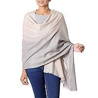 Wool shawl, 'Dusk Shadows' - Kashmiri Beige to Grey Soft Shawl Indian Warm Wool Wrap