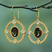 Gold plated quartz and topaz dangle earrings, 'Smoky Grandeur' - Gold Plated Dangle Earrings with Quartz and Blue Topaz