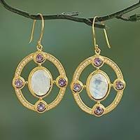 Gold plated moonstone and amethyst dangle earrings,