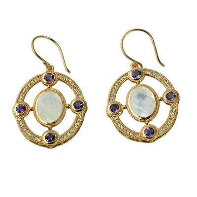 Gold Plated Dangle Earrings with Moonstone and Amethyst