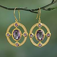 Gold plated amethyst dangle earrings,