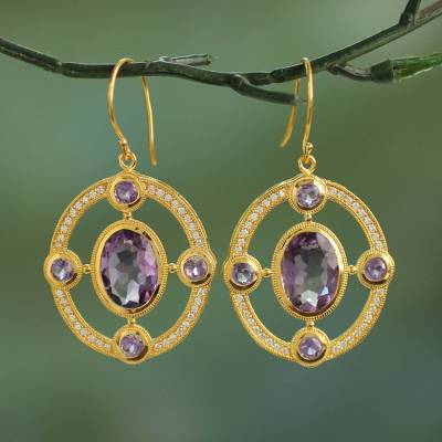 Gold plated amethyst dangle earrings, Lilac Grandeur