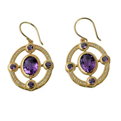 Gold Plated Dangle Earrings with Amethyst and Cubic Zirconia