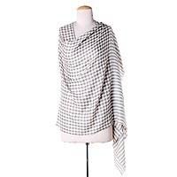 Wool shawl, 'Grey Checkered Lands' - Cream Color Wool Shawl with Thin Checkered Grey Composition