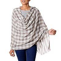 Wool shawl, 'Salient Paths' - Wool Shawl from India Grey Checkered Pattern over Cream