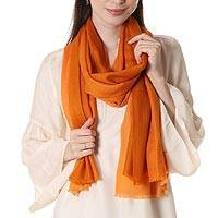 Wool shawl, 'Orange Delight' - 100% Wool Indian Lightweight Shawl in Solid Orange