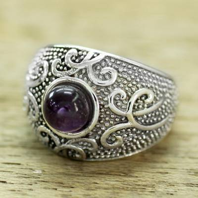 custom rings etsy - Women's Sterling Silver Domed Ring with a Cabochon Amethyst