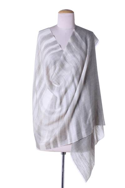 Cashmere shawl, 'Subtly Elegant' - Handwoven 100% India Cashmere Shawl in Tan and Grey