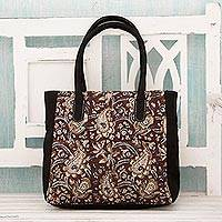 Cotton tote bag, 'Ageless Paisley' - Hand Printed Paisleys over Maroon and Black Cotton Tote Bag