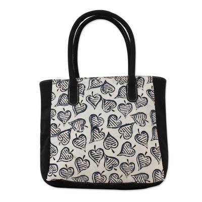 Cotton tote bag, 'Windswept' - Tote Bag with Block Printed Leaves on Cotton from India