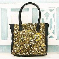 Cotton tote bag, 'Curling Suns' - Indian Olive Color Cotton Tote Bag with Block Printed Leaves