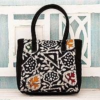 Cotton batik tote bag, 'Abstract Enigma' - Black Cotton Indian Batik Tote Bag with Abstract Patterns