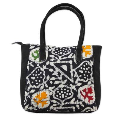 Black Cotton Indian Batik Tote Bag with Abstract Patterns
