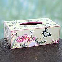 Decoupage tissue holder, 'Garden Delight' - Decoupage Floral Tissue Box Holder with Butterflies