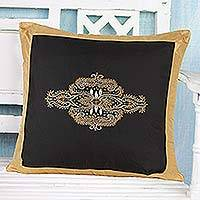 Embroidered silk pillow cover, 'Golden Glamour' - 100% Silk Embroidered Pillow Cover with Kashmiri Design