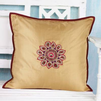 Silk cushion cover, 'Floral Glamour' - Hand-Embroidered Silk 16x16 Cushion Cover from India