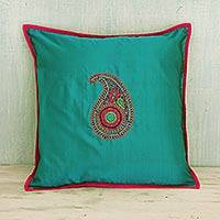 Silk cushion cover, 'Elegant Paisley' - Hand-Embroidered Teal Silk Paisley Cushion Cover from India
