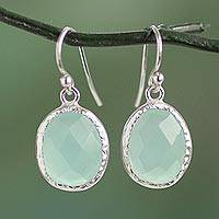 Chalcedony dangle earrings, 'Pale Aqua Dewdrops' - Fair Trade Aqua Chalcedony Dangle Earrings in 925 Silver