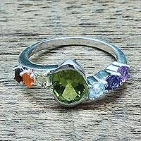 Multi-gemstone cocktail ring, 'Chakra Allure' - Hand Crafted Multi-Gemstone Cocktail Ring from India