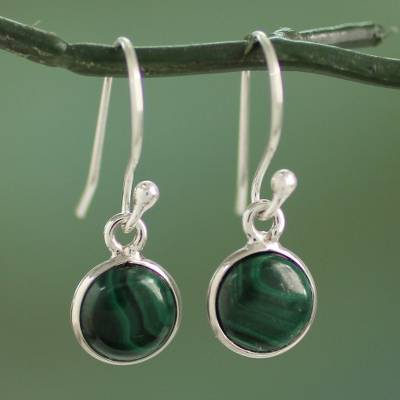 Sterling silver and malachite dangle earrings, 'Malachite Spheres' - High Polish Sterling Silver and Malachite Dangle Earrings