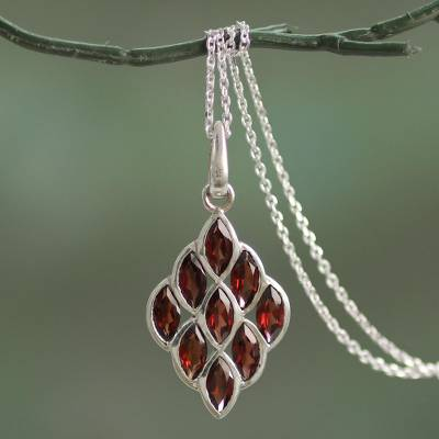 Garnet pendant necklace, 'Radiant Honeycomb' - Hand Crafted Sterling Silver and Garnet Pendant Necklace