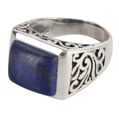 Sterling Silver Lapis Lazuli Ring with Nature Motif