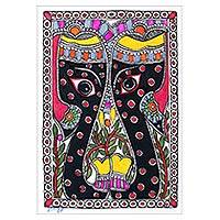 Madhubani painting, 'Twin Elephants' - Original Madhubani Painting of Elephant Pair