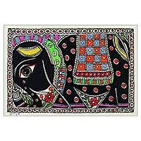 Madhubani painting, 'Royal Mount' - Indian Madhubani Painting of Elephant on Handmade Paper