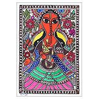 Madhubani painting, 'Magnificent Ganapati' - Signed Madhubani Folk Art Painting of Ganesha
