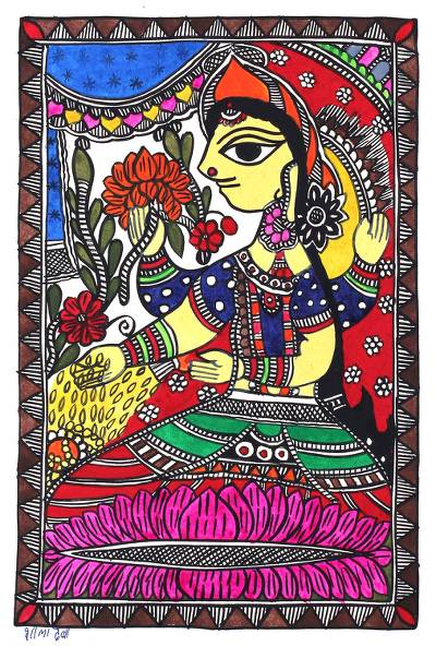 Madhubani Painting of Lakshmi the Goddess of Wealth