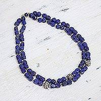 Lapiz lazuli beaded necklace, 'Royal Whisper' - Sterling Silver Lapis Lazuli Beaded Necklace from India