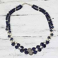 Lapis lazuli and cultured pearl beaded necklace, 'Timeless Beauty' - Lapis Lazuli Cultured Pearl Beaded Necklace from India