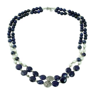Lapis Lazuli Cultured Pearl Beaded Necklace from India