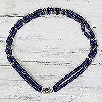 Lapis lazuli beaded necklace, 'Royal Blue Sea' - Indian Lapis and 925 Sterling Silver Double-Strand Necklace
