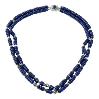 Indian Lapis and 925 Sterling Silver Double-Strand Necklace