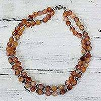 Agate beaded necklace, 'Sunset Brilliance' - Hand-Crafted Indian Peach Agate and Sterling Silver Necklace